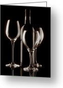 Vino Greeting Cards - Wine Bottle and Wineglasses Silhouette II Greeting Card by Tom Mc Nemar