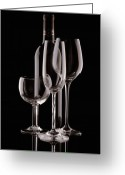 Vino Greeting Cards - Wine Bottle and Wineglasses Silhouette Greeting Card by Tom Mc Nemar