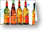 Wine Bottle Greeting Cards - Wine Bottle Lights Greeting Card by Margaret Hood