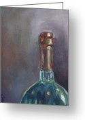 Corked Greeting Cards - Wine Bottle No. 1 Greeting Card by Kristine Kainer