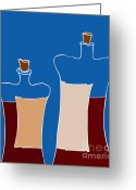 Cartoons Greeting Cards - Wine Bottles Greeting Card by Frank Tschakert