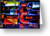 Wine Cellars Greeting Cards - Wine Bottles Greeting Card by Joan  Minchak