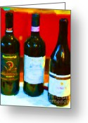 Vineyard Digital Art Greeting Cards - Wine Bottles - Study 1 Greeting Card by Wingsdomain Art and Photography