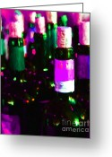 Vineyard Digital Art Greeting Cards - Wine Bottles - Study 3 Greeting Card by Wingsdomain Art and Photography