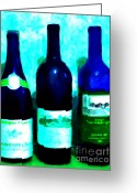Vineyard Digital Art Greeting Cards - Wine Bottles - Study 4 Greeting Card by Wingsdomain Art and Photography