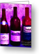 Vineyard Digital Art Greeting Cards - Wine Bottles - Study 5 Greeting Card by Wingsdomain Art and Photography