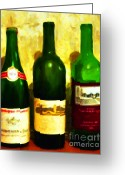 Vineyard Digital Art Greeting Cards - Wine Bottles - Study 6 Greeting Card by Wingsdomain Art and Photography