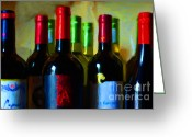 Vineyard Digital Art Greeting Cards - Wine Bottles - Study 8 Greeting Card by Wingsdomain Art and Photography