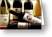 Wine Cellars Greeting Cards - Wine Bottles Greeting Card by Susan Stone