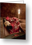 Food And Beverage Greeting Cards - Wine by Candle Light I Greeting Card by Tom Mc Nemar