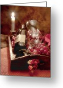 Wine Bottle Greeting Cards - Wine by Candle Light II Greeting Card by Tom Mc Nemar