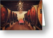 Table Cloth Greeting Cards - Wine Cellar Greeting Card by Benjamin Matthijs
