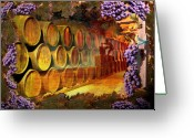 Cocktails Pyrography Greeting Cards - Wine Cellar Greeting Card by Richard Nickson