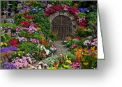 Garden Pathway Greeting Cards - Wine celler gates  Greeting Card by Garry Gay