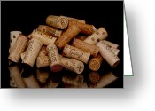 Cocktails Pyrography Greeting Cards - Wine Corks Greeting Card by Moon Time Photo