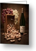 Grapes Greeting Cards - Wine Corks Still Life II Greeting Card by Tom Mc Nemar