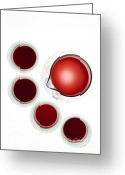 Red Greeting Cards - Wine decanter and glasses Greeting Card by Frank Tschakert