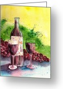 Wine For Two Greeting Cards - Wine for Two - 2 Greeting Card by Sharon Mick