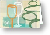 Circles Mixed Media Greeting Cards - Wine For Two Greeting Card by Linda Woods