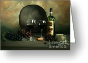 Cheese Greeting Cards - Wine For Two Greeting Card by Paul Walsh