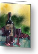 Wine For Two Greeting Cards - Wine for Two Greeting Card by Sharon Mick