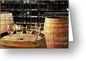 Alcohol Greeting Cards - Wine glasses and barrels Greeting Card by Elena Elisseeva