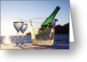 Wine For Two Greeting Cards - Wine Glasses And Bottle Outdoors Greeting Card by Bill Holden