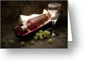 Vino Greeting Cards - Wine with Grapes and Glass Still Life Greeting Card by Tom Mc Nemar