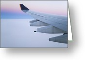 Cabin Window Greeting Cards - Wing and Engines of Jet in Flight Greeting Card by Jeremy Woodhouse