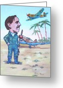 Famous Airmen Greeting Cards - Wing Cdr.Clive Caldwell Greeting Card by Murray McLeod