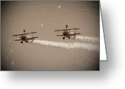 Bi Plane Greeting Cards - Wing Walkers Greeting Card by Sharon Lisa Clarke