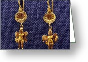 Gold Earrings Photo Greeting Cards - Winged Erotes Greeting Card by Andonis Katanos