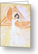 Magic Pastels Greeting Cards - Winged Goddess Greeting Card by Cassandra Geernaert