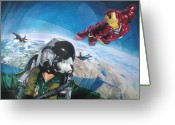 Ironman Greeting Cards - Wingman Greeting Card by Raoul Alburg