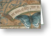 Green Painting Greeting Cards - Wings of Hope Greeting Card by Debbie DeWitt