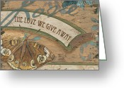 Green Painting Greeting Cards - Wings of Love Greeting Card by Debbie DeWitt