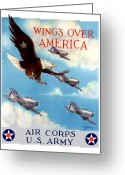 Eagle Art Greeting Cards - Wings Over America Greeting Card by War Is Hell Store