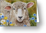 Sheep Greeting Cards - Winnie in the Wild Flowers Greeting Card by Laura Carey