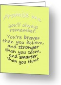 Childs Greeting Cards - Winnie the Pooh - Promise Me Greeting Card by Georgia Fowler