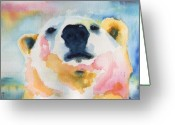 Bears Painting Greeting Cards - Winston Greeting Card by Carolyn Curtice