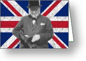 British Digital Art Greeting Cards - Winston Churchill and His Flag Greeting Card by War Is Hell Store