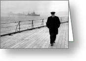War Art Greeting Cards - Winston Churchill At Sea Greeting Card by War Is Hell Store