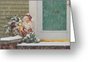You Greeting Cards - Winter - Christmas - Oh Oh Brrr Greeting Card by Mike Savad