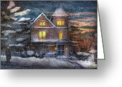 Evening Scenes Photo Greeting Cards - Winter - Clinton NJ - A Victorian Christmas  Greeting Card by Mike Savad