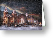 Evening Scenes Photo Greeting Cards - Winter - Clinton NJ - Silent Night  Greeting Card by Mike Savad