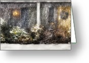 Snowing Greeting Cards - Winter - House - One Snowy night Greeting Card by Mike Savad