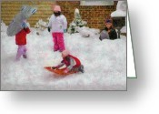 Snow Scenes Greeting Cards - Winter - Winter is Fun Greeting Card by Mike Savad
