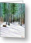 December Painting Greeting Cards - Winter Afternoon Greeting Card by Brenda Baker