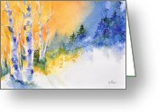 Winter Trees Greeting Cards - Winter Aspen Glow Greeting Card by Donna Martin