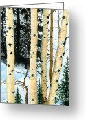 Barbara Painting Greeting Cards - Winter Aspens Greeting Card by Barbara Jewell